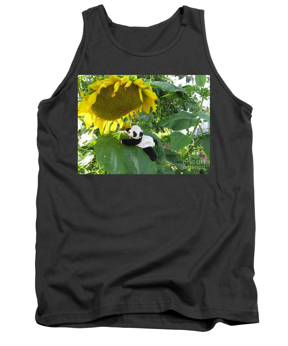 Baby Panda Tank Top featuring the photograph It's A Big Sunflower by Ausra Huntington nee Paulauskaite