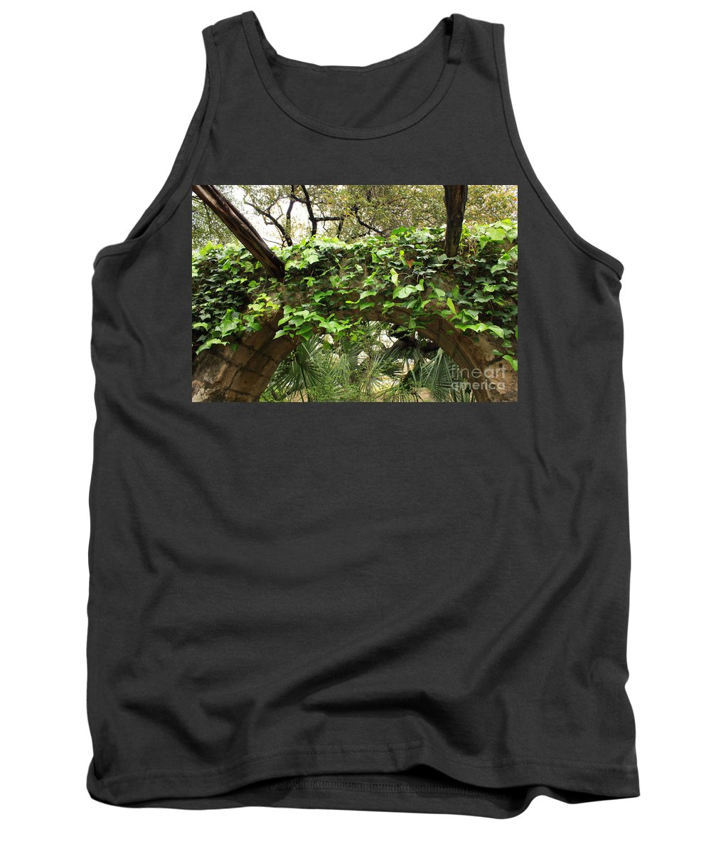 Ivy-covered Tank Top featuring the photograph Ivy-covered Arch At The Alamo by Carol Groenen