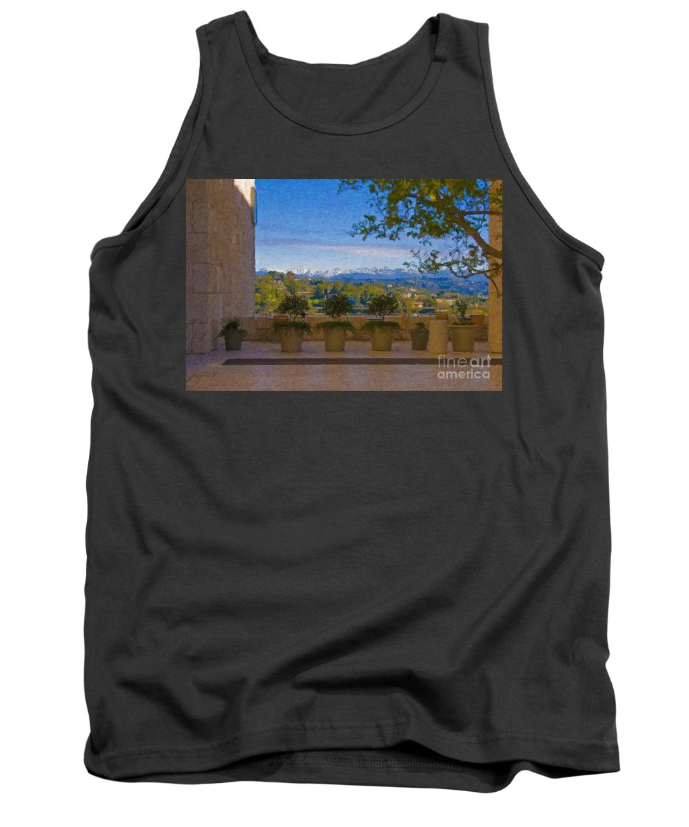 J Paul Getty Center Museum Terrace Tank Top featuring the photograph J Paul Getty Center Museum Terrace by David Zanzinger