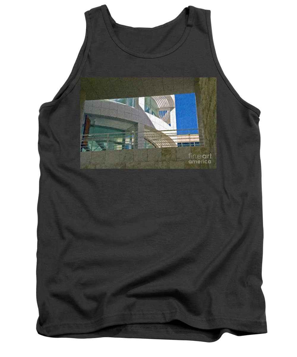 J. Paul Getty Museum Los Angeles Ca Administration Building Abstract View Tank Top featuring the photograph J. Paul Getty Museum Abstract View by David Zanzinger