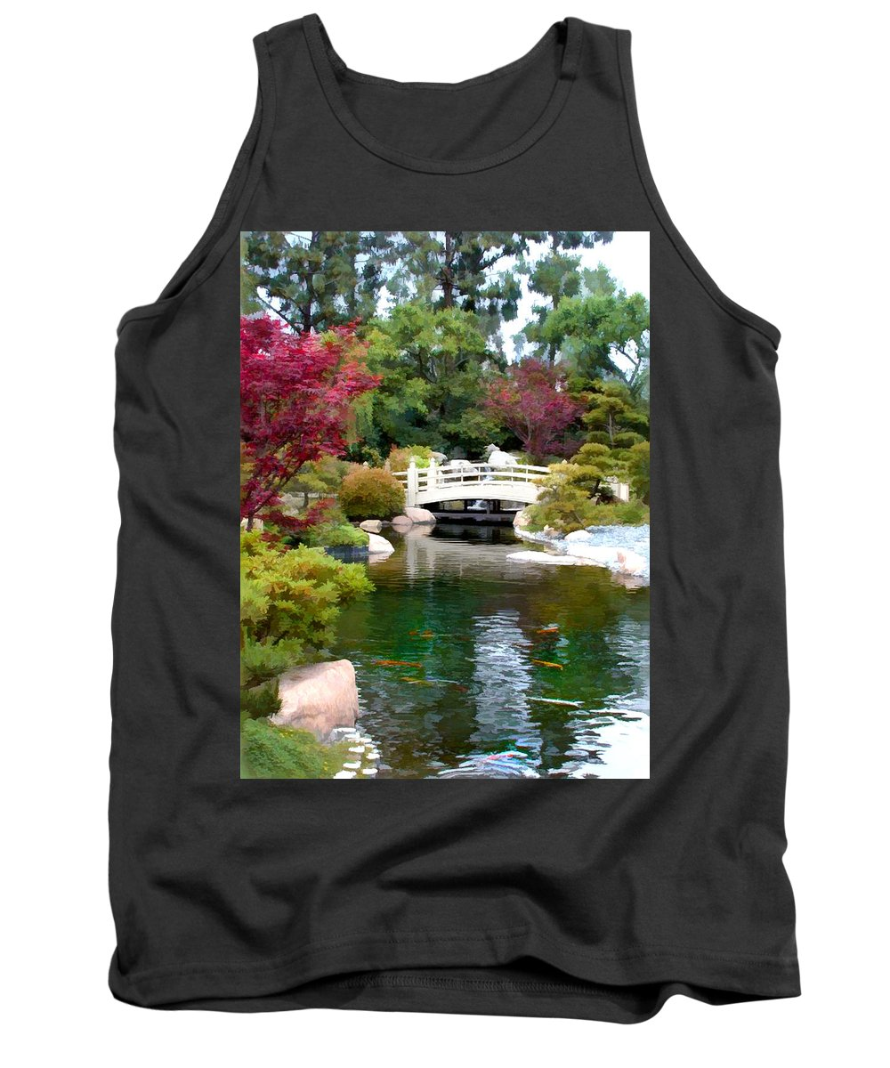 Nature Tank Top featuring the painting Japanese Garden Bridge And Koi Pond by Elaine Plesser