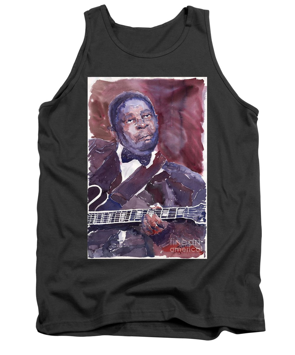 Jazz Bbking Guitarist Blues Portret Figurative Music Tank Top featuring the painting Jazz B B King by Yuriy Shevchuk