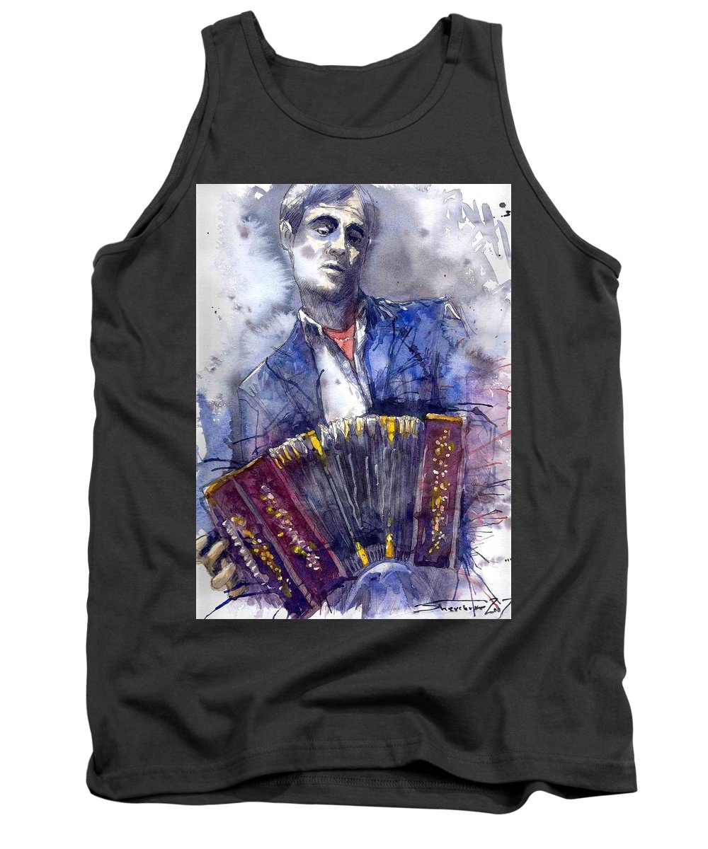 Jazz Tank Top featuring the painting Jazz Concertina Player by Yuriy Shevchuk