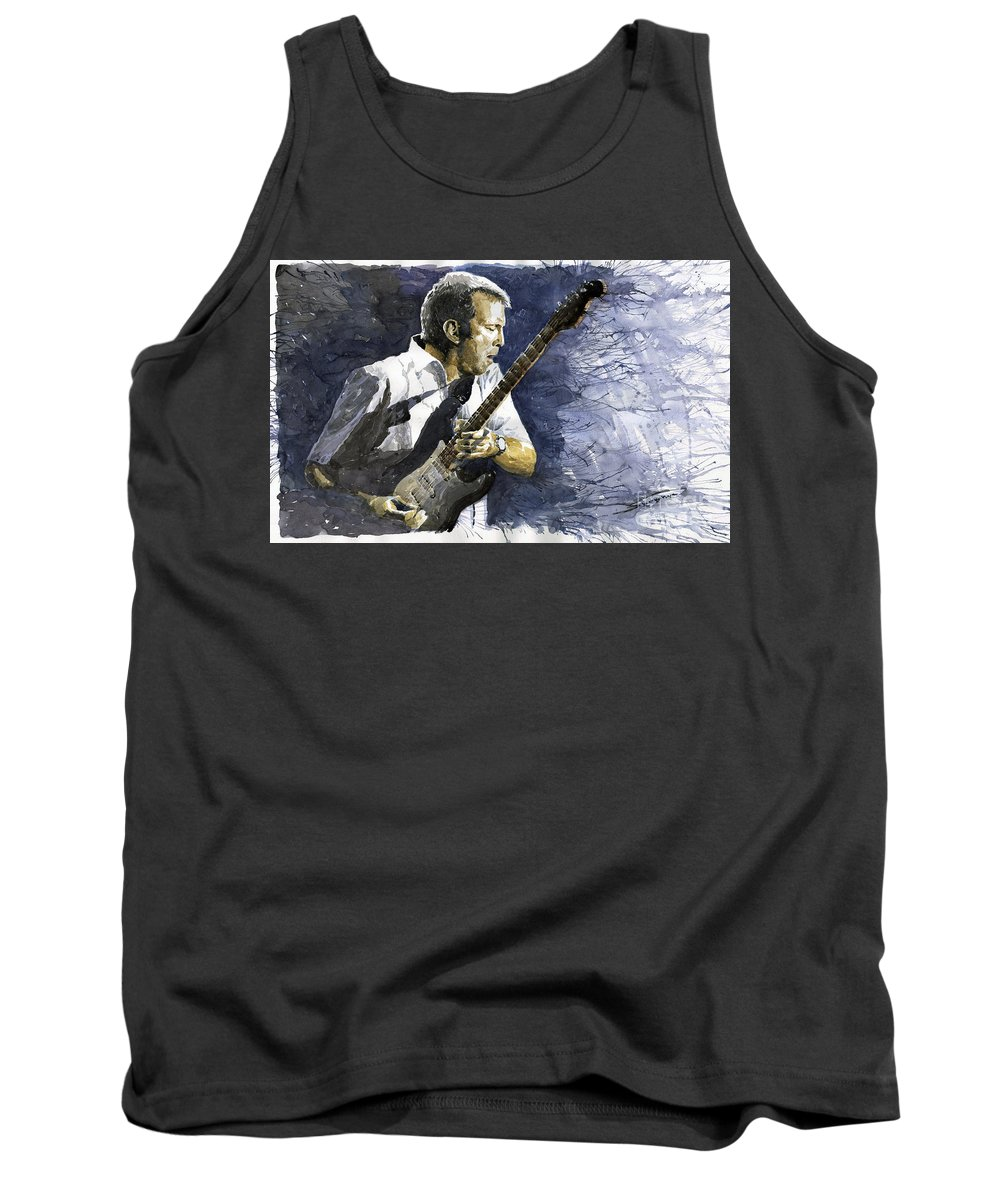 Eric Clapton Tank Top featuring the painting Jazz Eric Clapton 1 by Yuriy Shevchuk