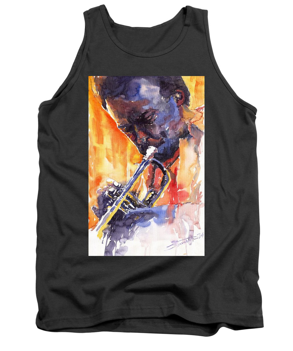 Jazz Tank Top featuring the painting Jazz Miles Davis 9 Red by Yuriy Shevchuk