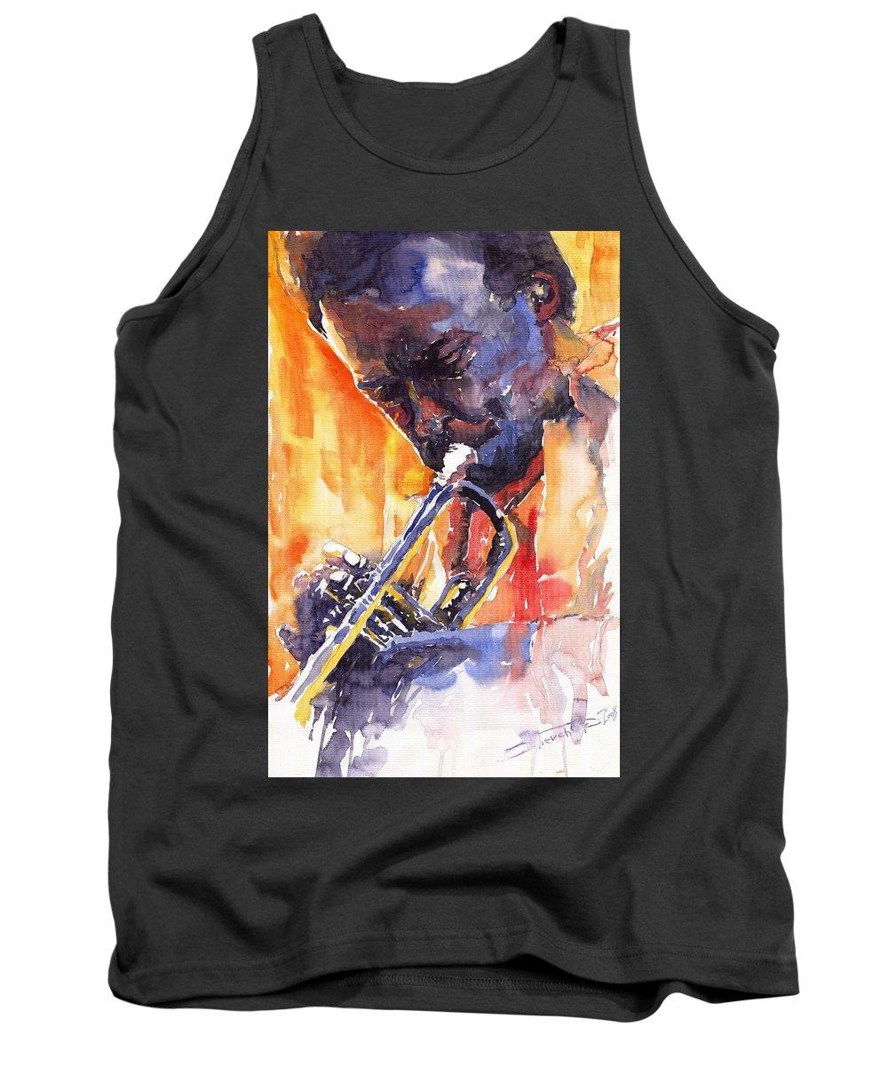 Jazz Tank Top featuring the painting Jazz Miles Davis 9 Red by Yuriy Shevchuk