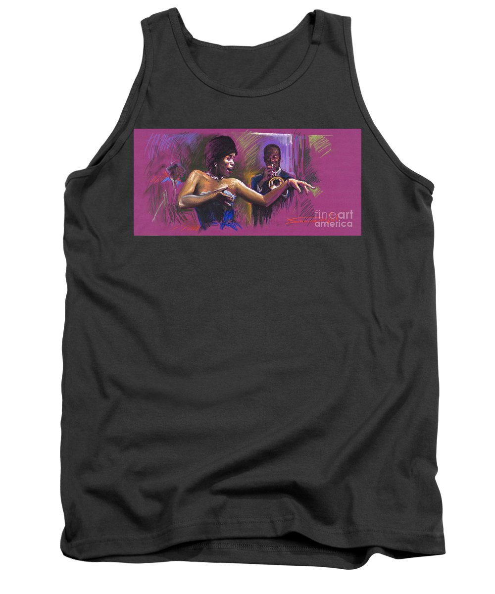 Jazz Tank Top featuring the painting Jazz Song.2. by Yuriy Shevchuk