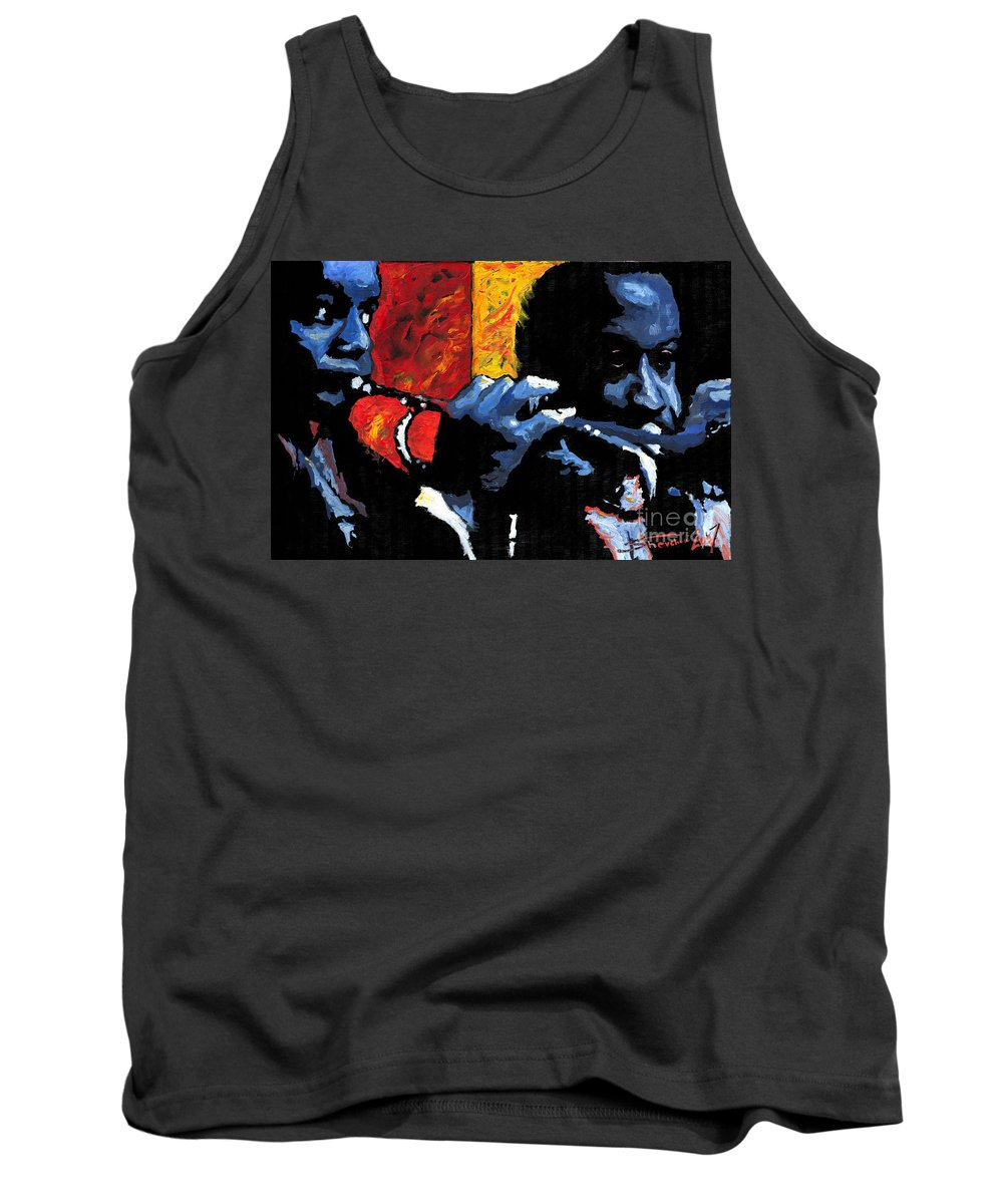 Jazz Tank Top featuring the painting Jazz Trumpeters by Yuriy Shevchuk