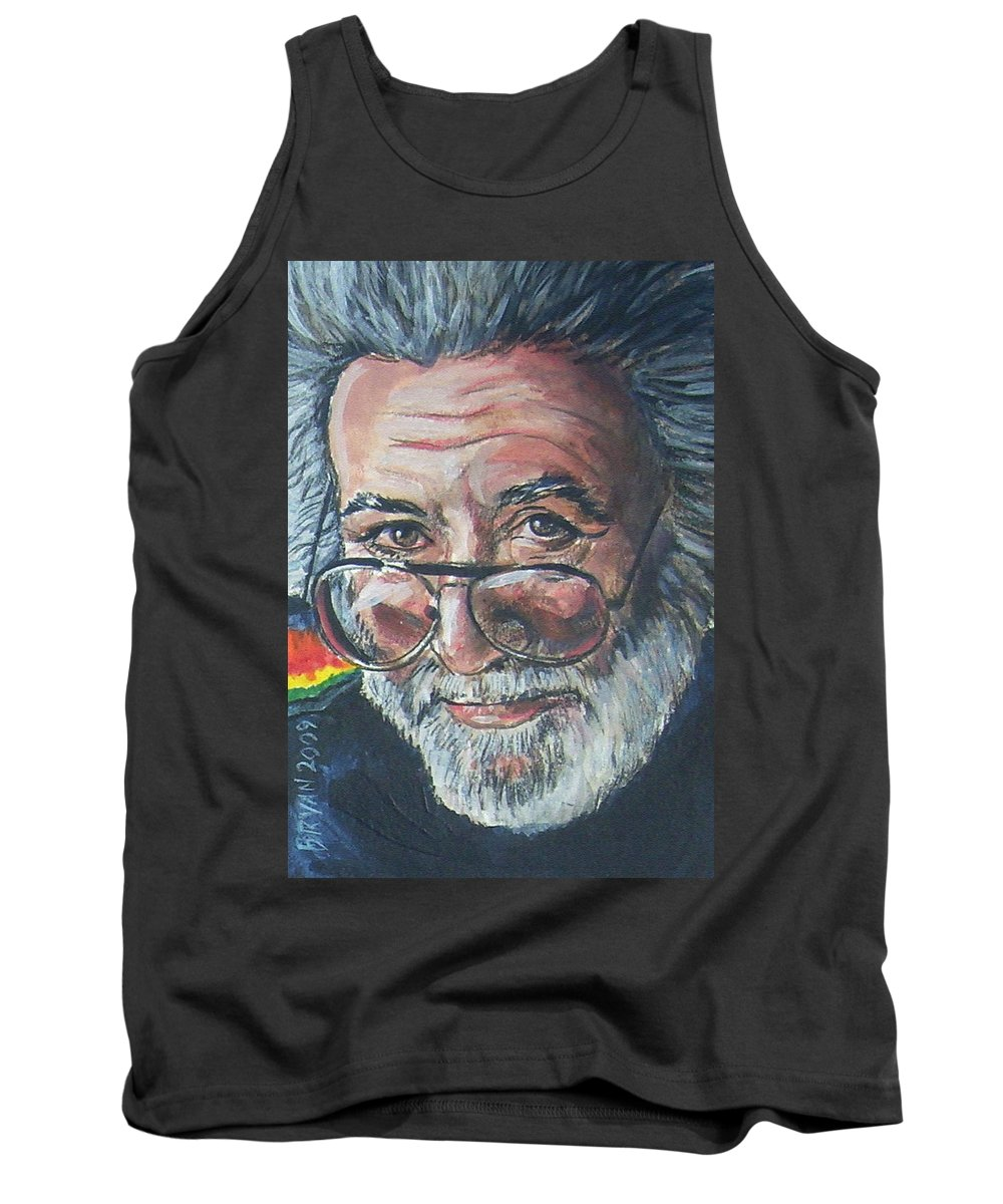 Jerry Garcia Tank Top featuring the painting Jerry Garcia by Bryan Bustard