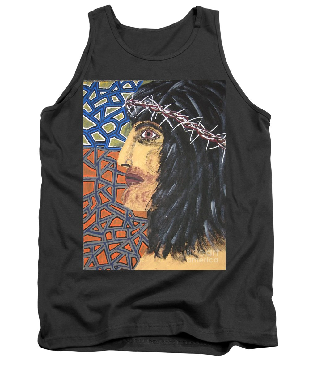 Portrait Tank Top featuring the painting Jesus by Jeffrey Koss