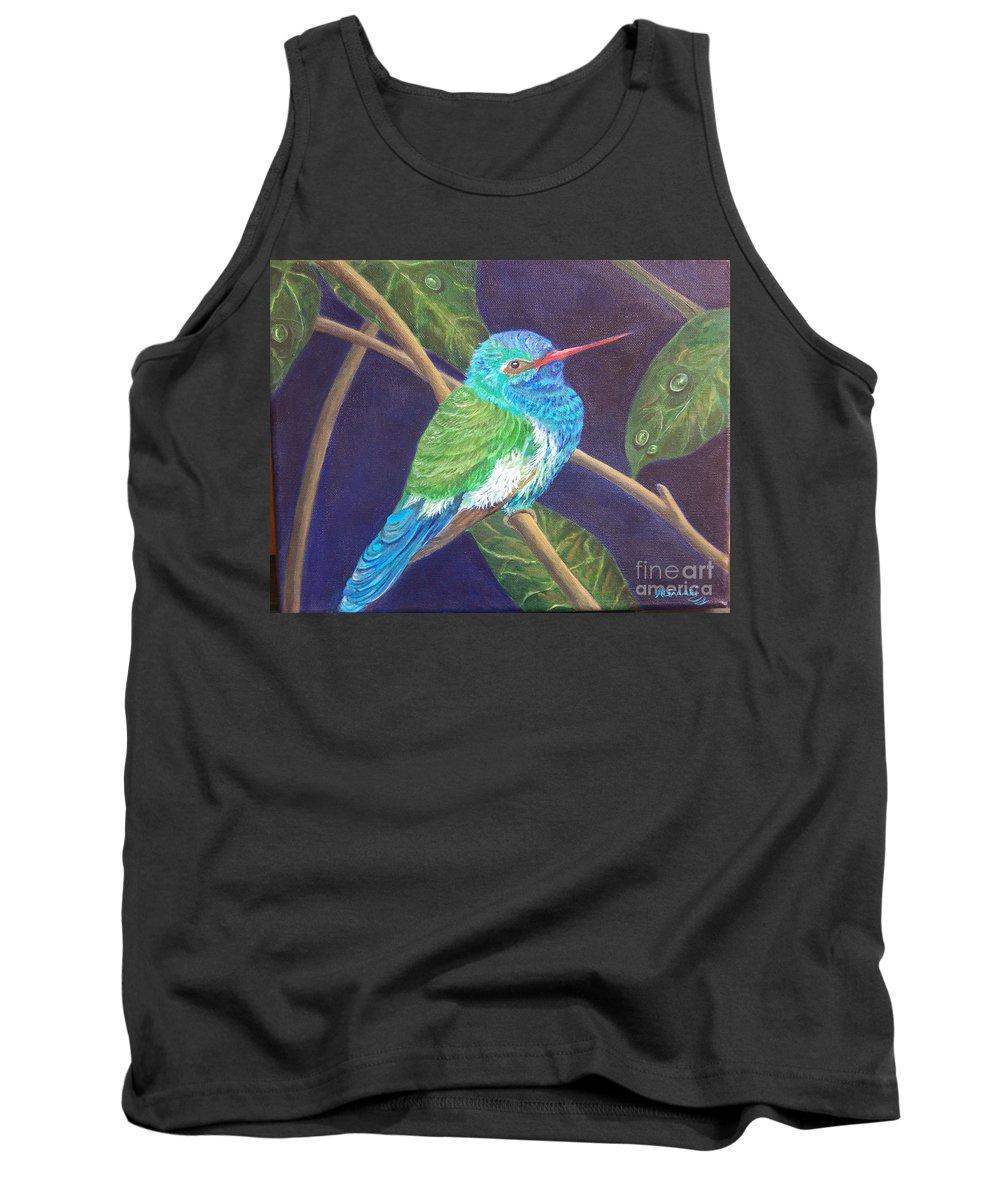 Hummingbird Tank Top featuring the painting Jewel Of The Skies by Alina Martinez-beatriz
