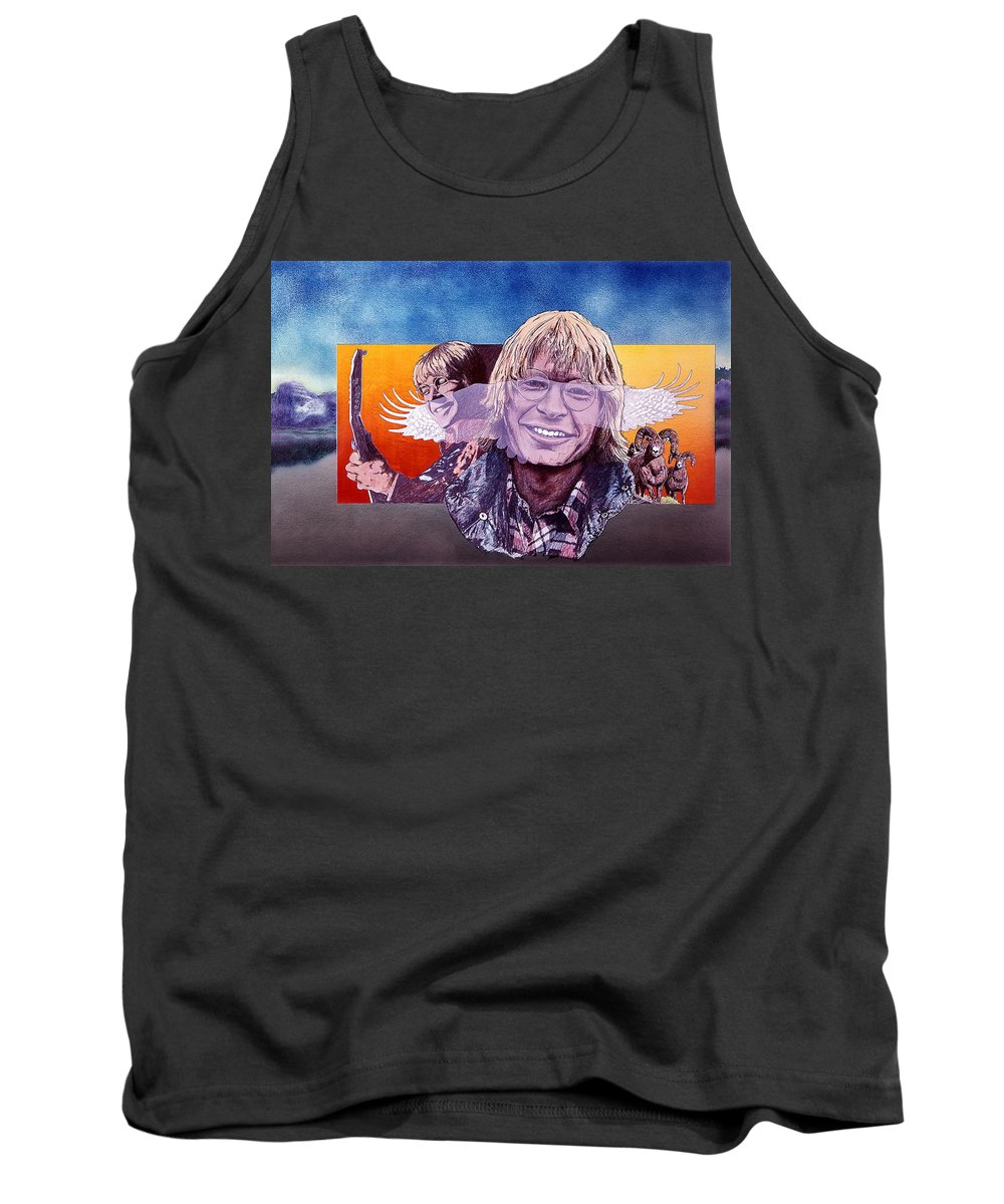 John Denver Tank Top featuring the mixed media John Denver by John D Benson