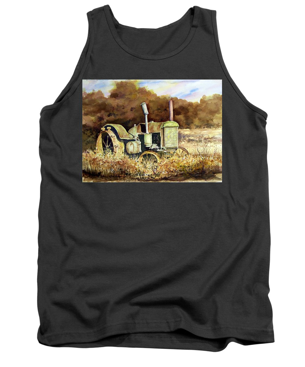 Tractor Tank Top featuring the painting Johnny Popper by Sam Sidders