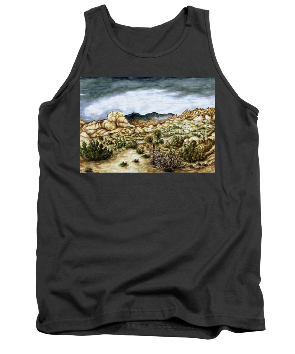 Landscape Tank Top featuring the painting California Desert Landscape - Watercolor Art by Peter Potter