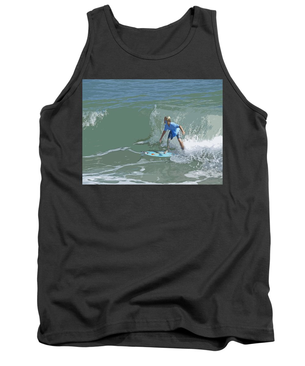 Surf Tank Top featuring the painting Joy Of Surfing - Four by Allan Hughes