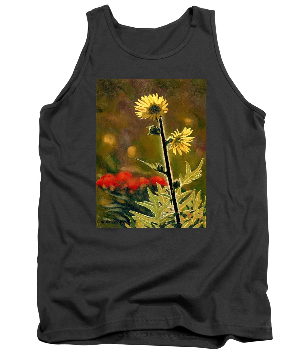 Prairie Flowers Tank Top featuring the painting July Afternoon-compass Plant by Bruce Morrison