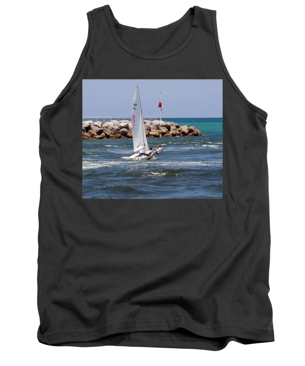 Florida; Jupiter; Inlet; Loxahatchee; River; Beach; Shore; Coast; Sand; Sandy; Ocean; Sea; Atlantic; Tank Top featuring the photograph Jupiter Inlet In Florida by Allan Hughes