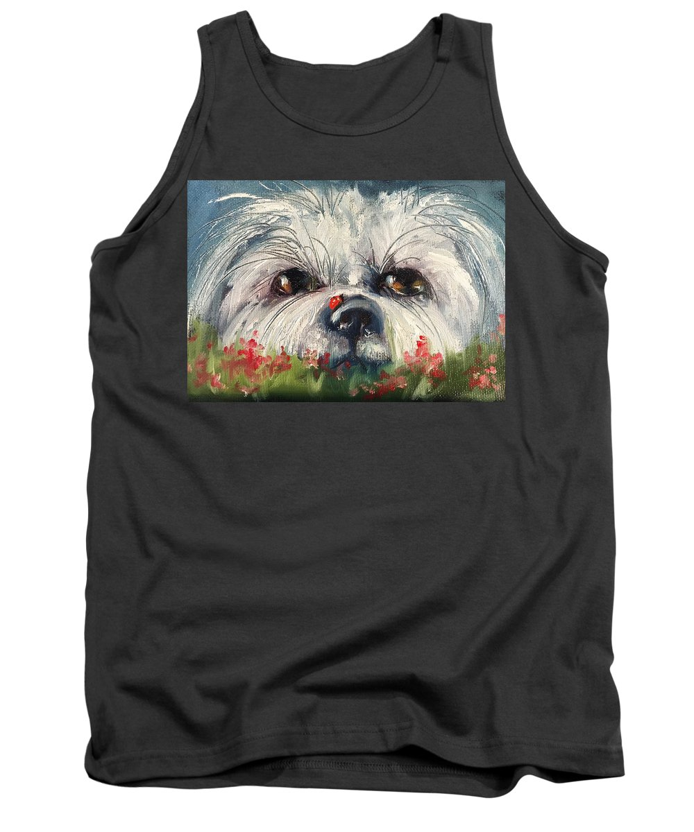 Dog Tank Top featuring the painting Just Hiding Out by Angela Sullivan