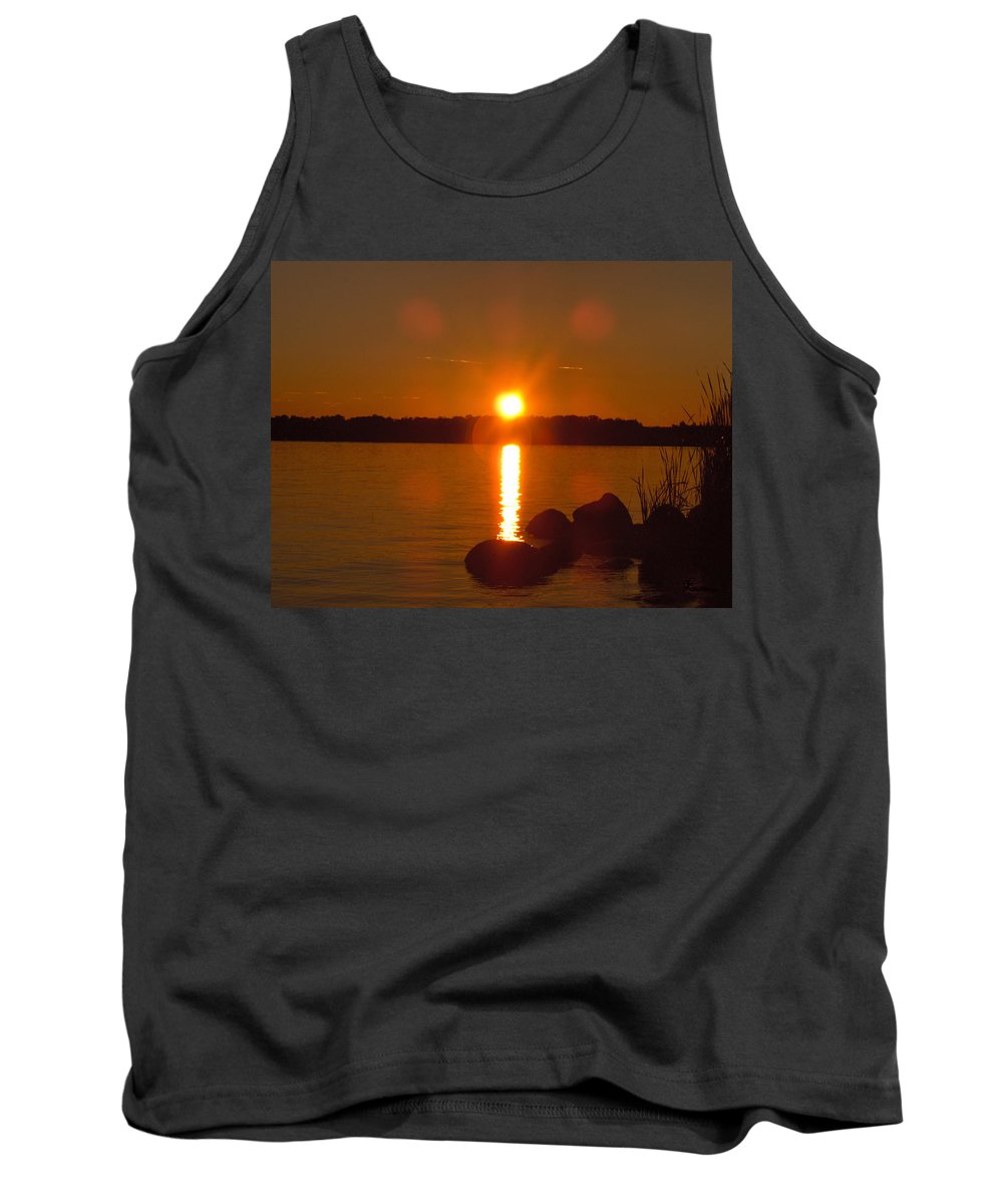 Beach Lake Rock Reeds Water Sky Tank Top featuring the photograph Just Rock by Andrea Lawrence