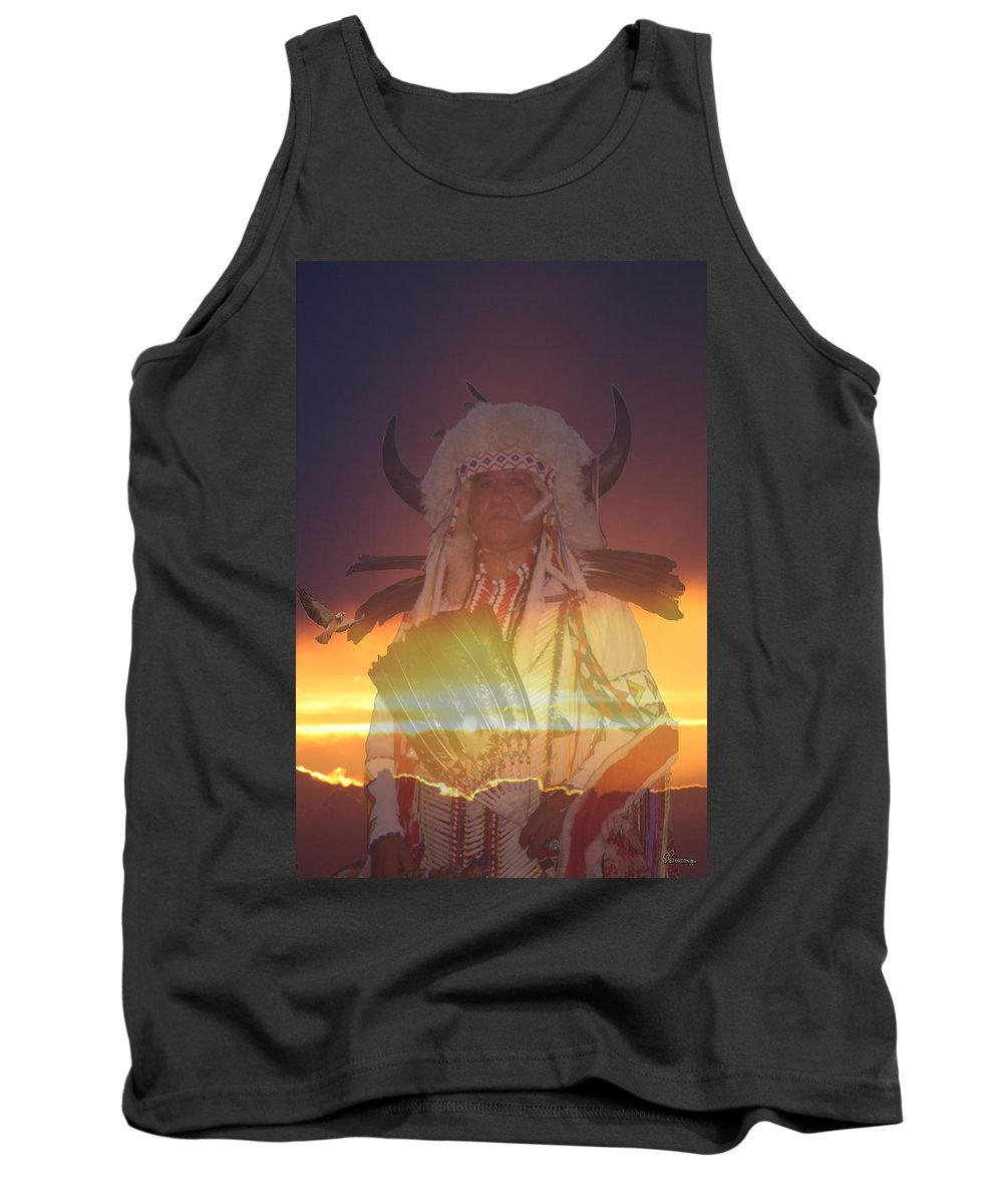 Cree Indian People 3rd Annual Gordon First Nation Pow-wow Saskatchewan Canada Native Costume Spiritual Tank Top featuring the photograph Kaneetawate by Andrea Lawrence