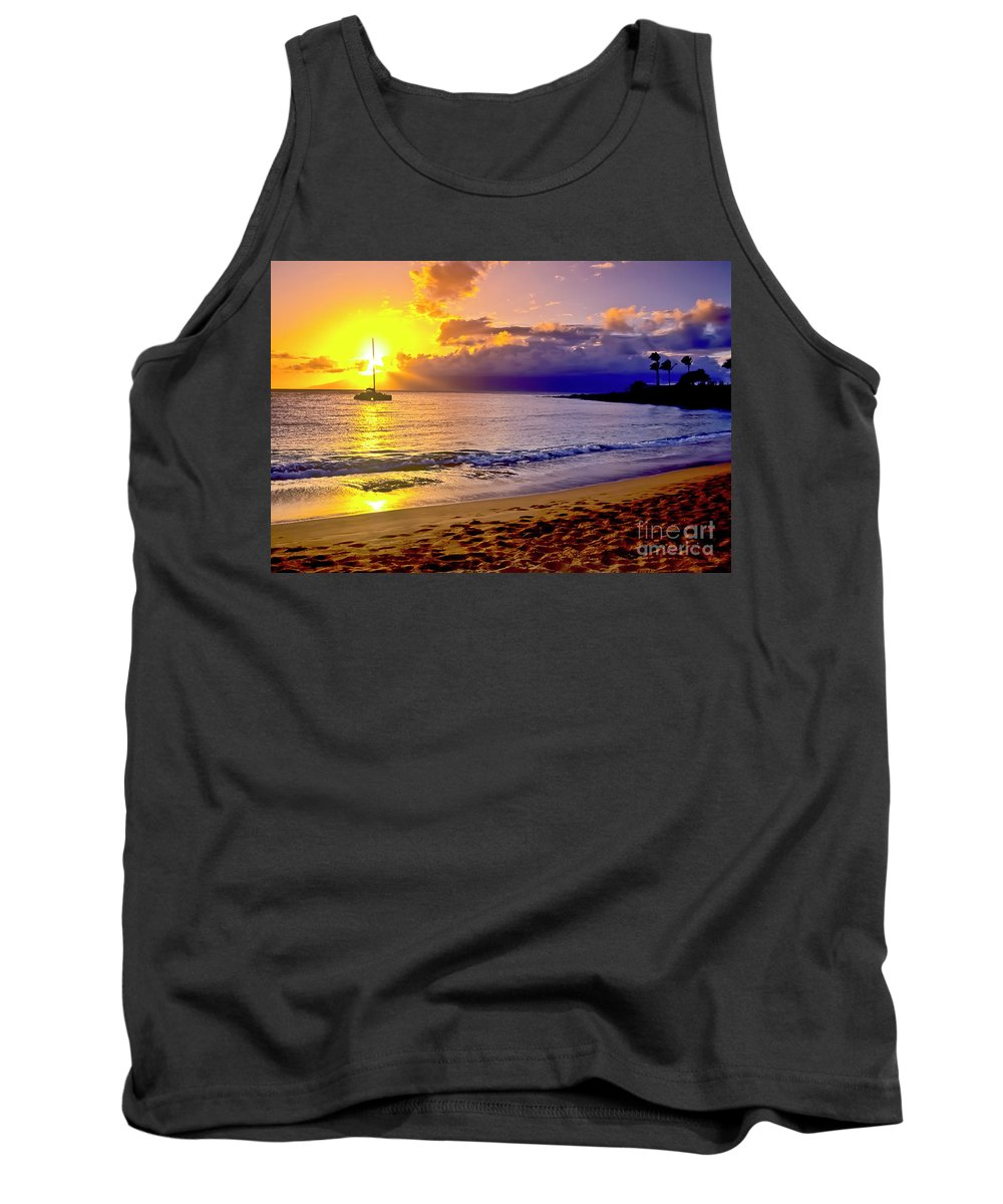 Scenics Tank Top featuring the photograph Kapalua Bay Sunset by Jim Cazel