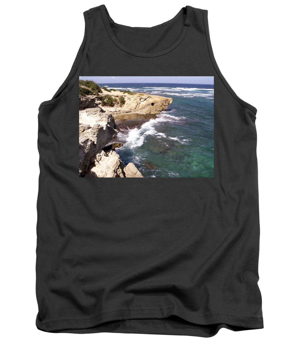 Kauai Tank Top featuring the photograph Kauai Coast With Shark Outcrop by Amy Fose