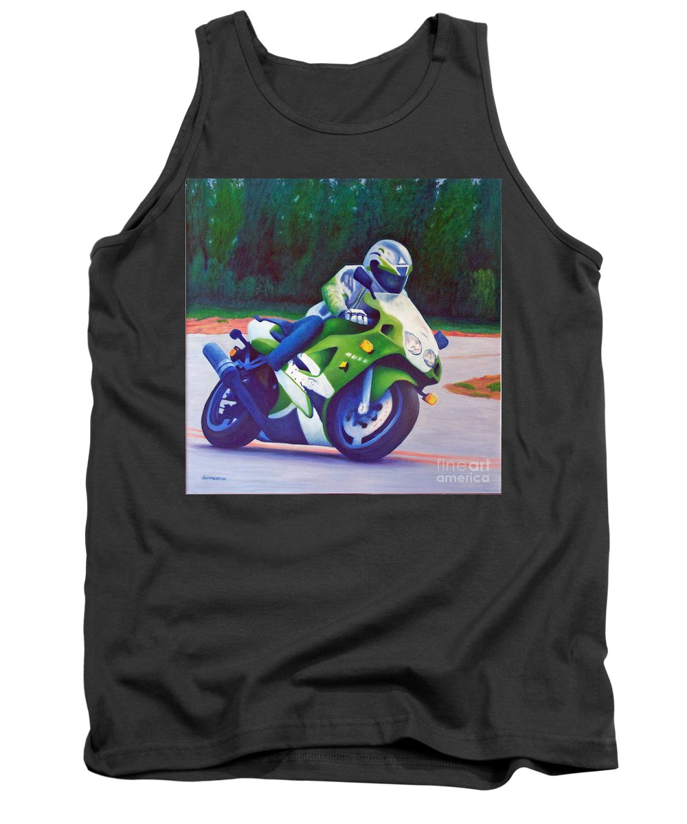 Motorcycle Tank Top featuring the painting Kawasaki Zx7 - In The Groove by Brian Commerford