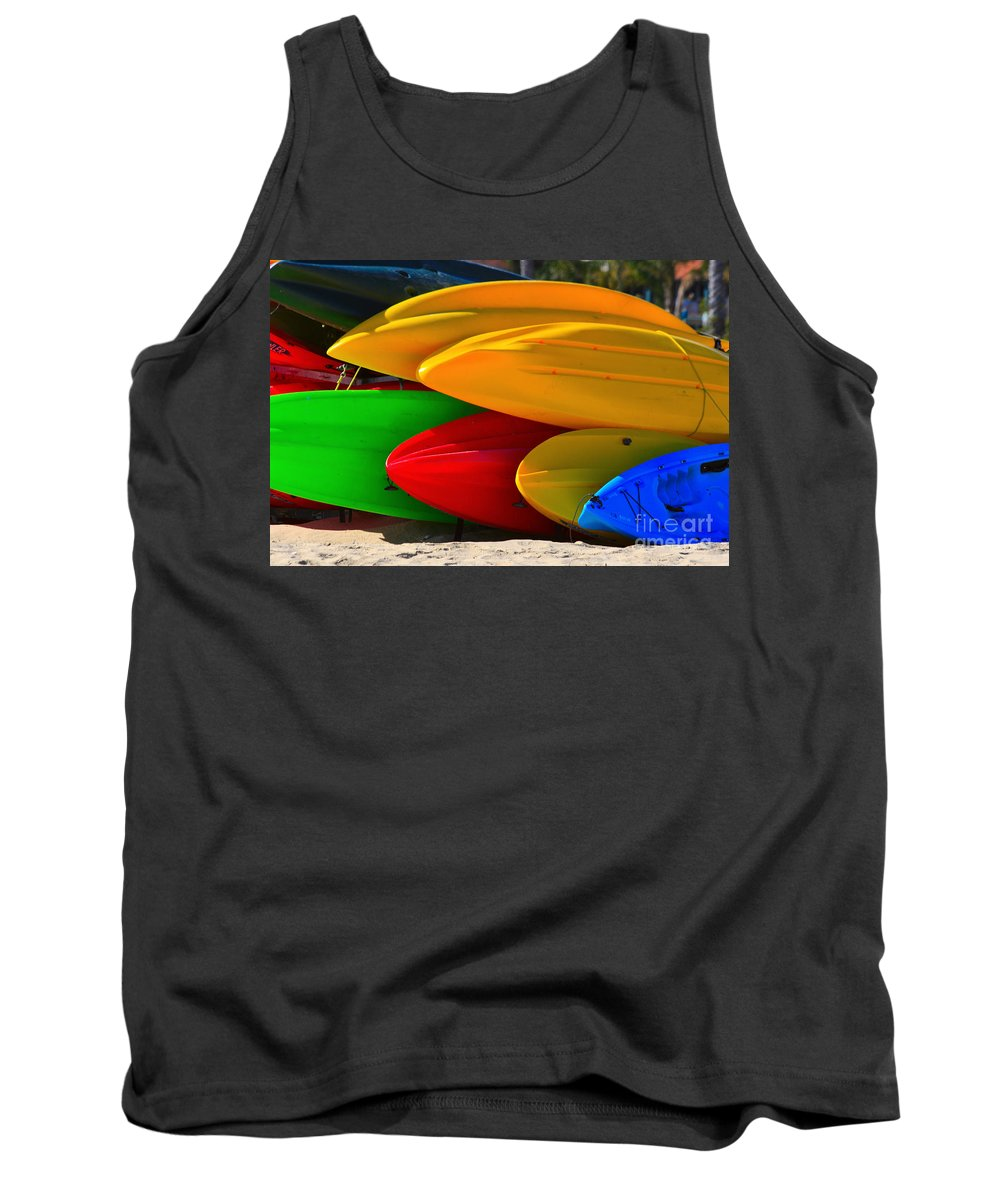 Kayaks Tank Top featuring the photograph Kayaks On The Beach by James BO Insogna