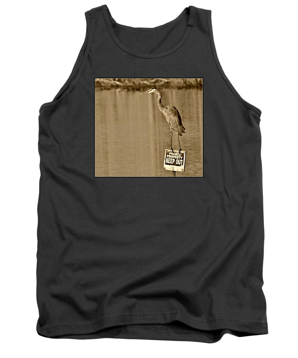Great Blue Heron Tank Top featuring the photograph Keep Out by Darin Bokeno