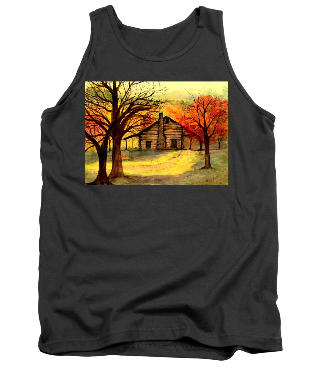Log Cabins Tank Top featuring the painting Kentucky Cabin by Gail Kirtz