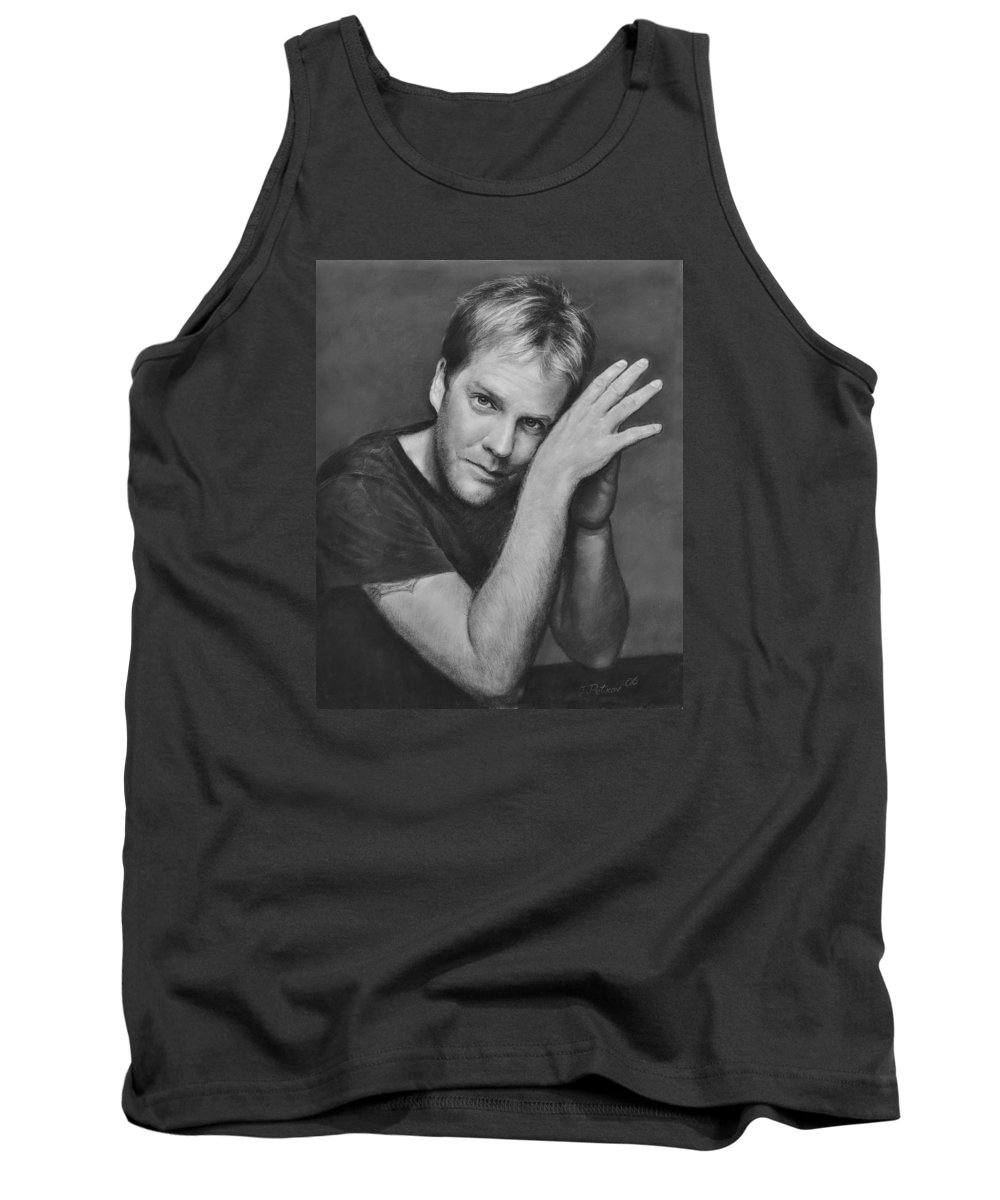 Portraits Tank Top featuring the drawing Kiefer Sutherland by Iliyan Bozhanov