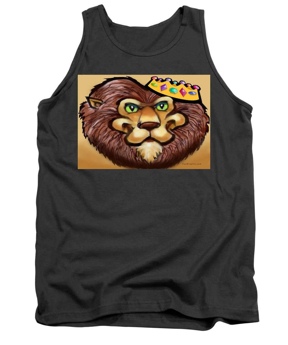 Lion Tank Top featuring the digital art King by Kevin Middleton