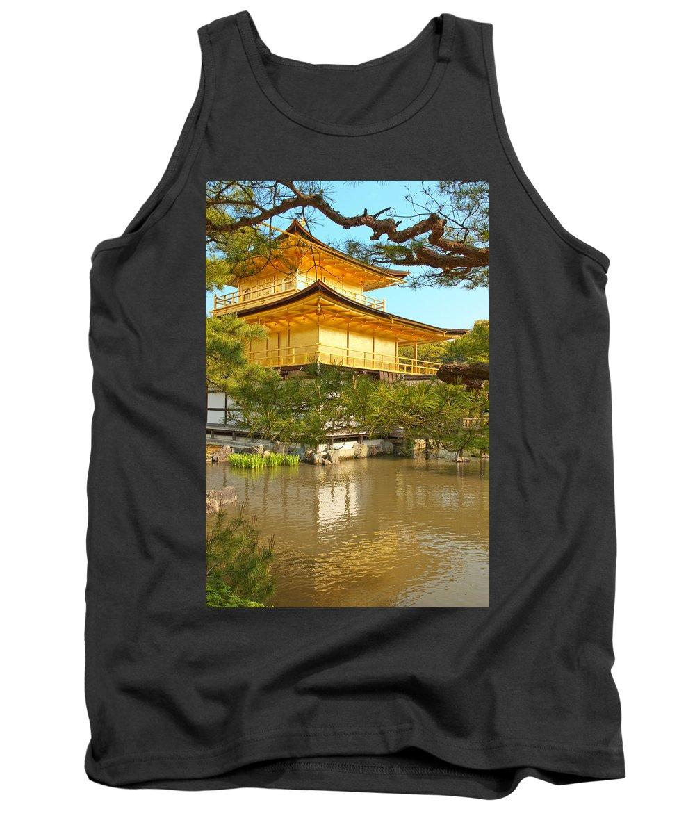Japan Tank Top featuring the photograph Kinkakuji Golden Pavilion Kyoto by Sebastian Musial