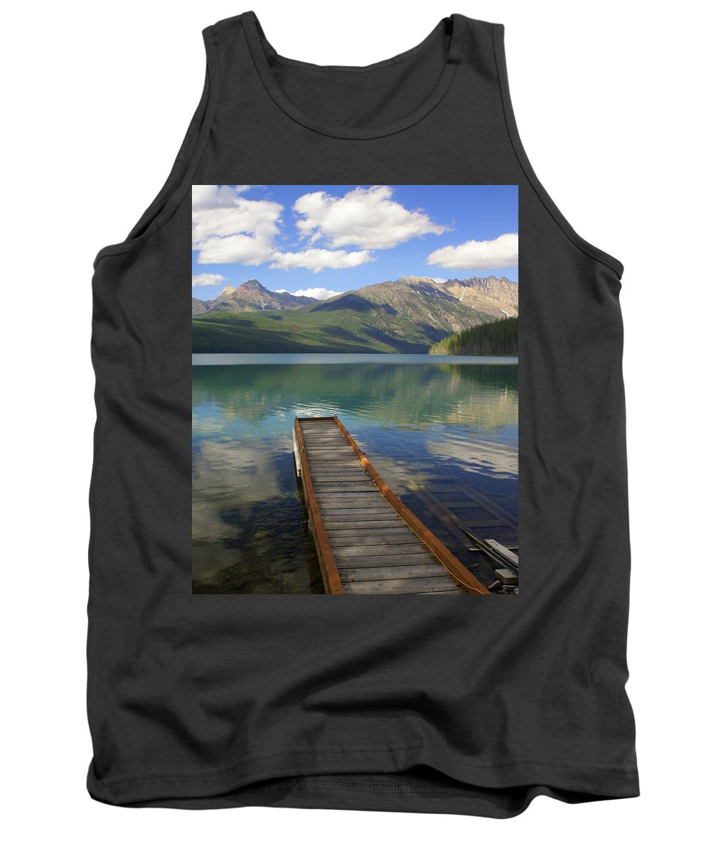 Glacier National Park Tank Top featuring the photograph Kintla Lake Dock by Marty Koch