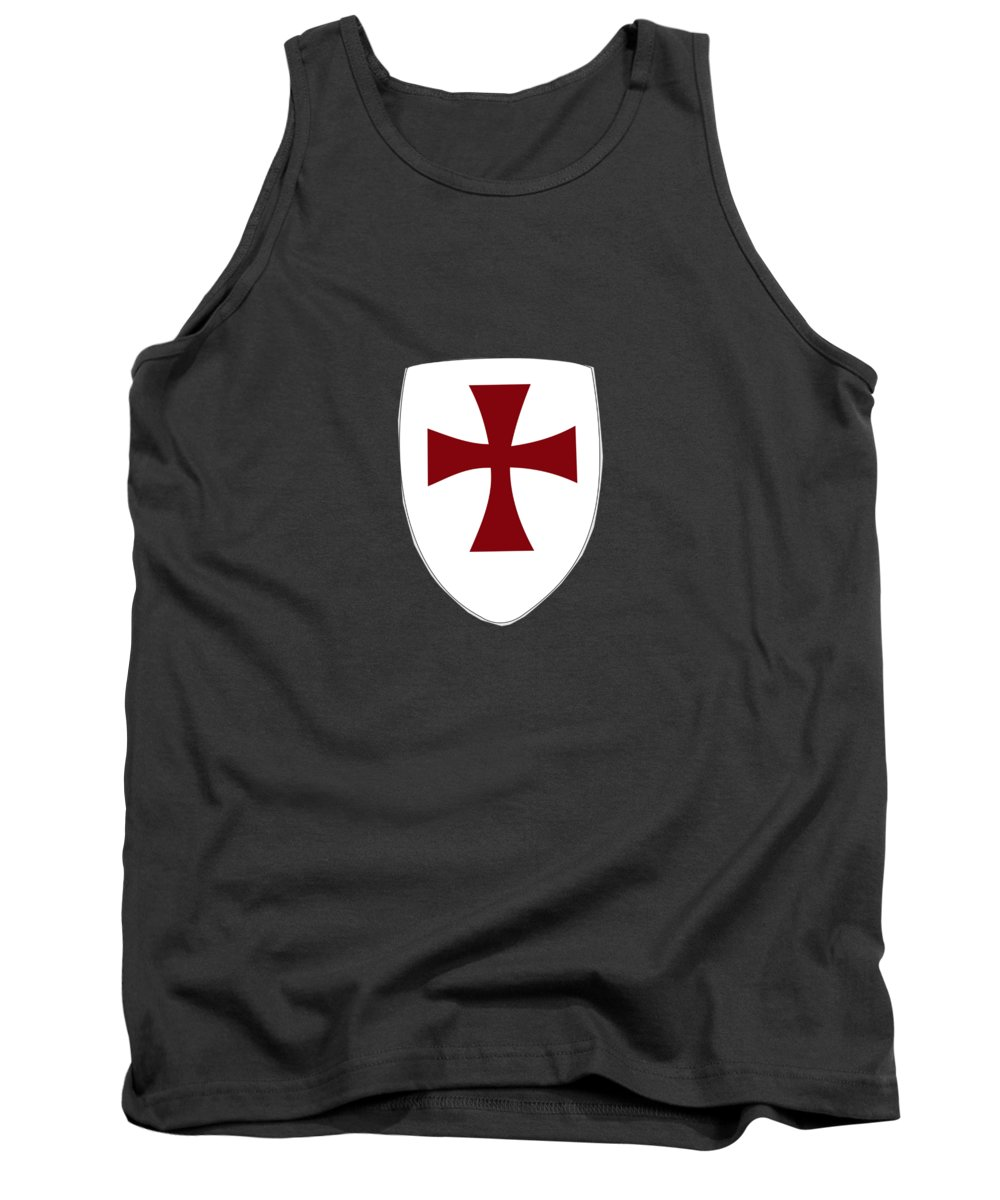 Religion Tank Top featuring the digital art Knights Templar Crusades Shield by Frederick Holiday