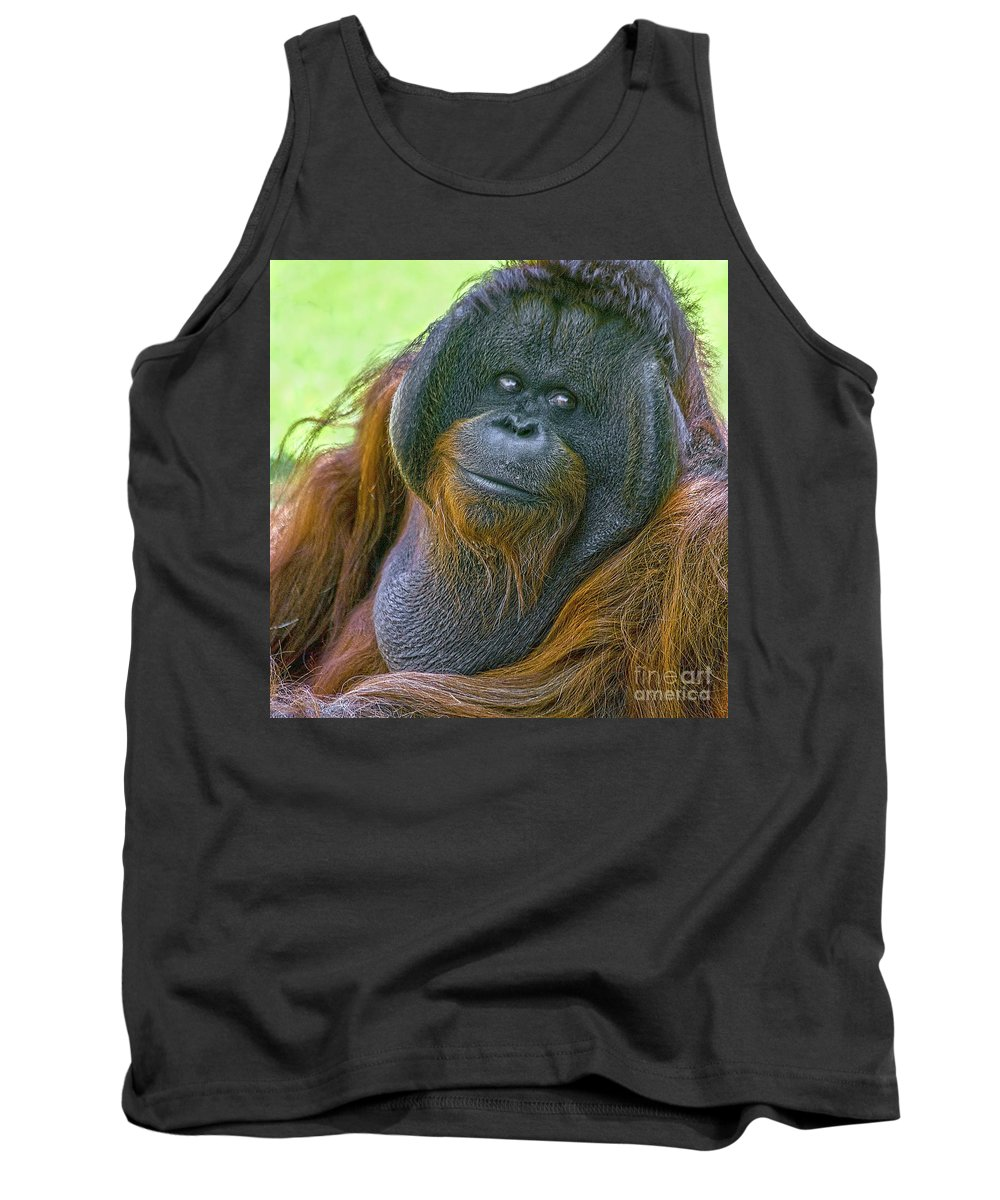 Orang Untang Tank Top featuring the photograph Knowing Smile by Heiko Koehrer-Wagner