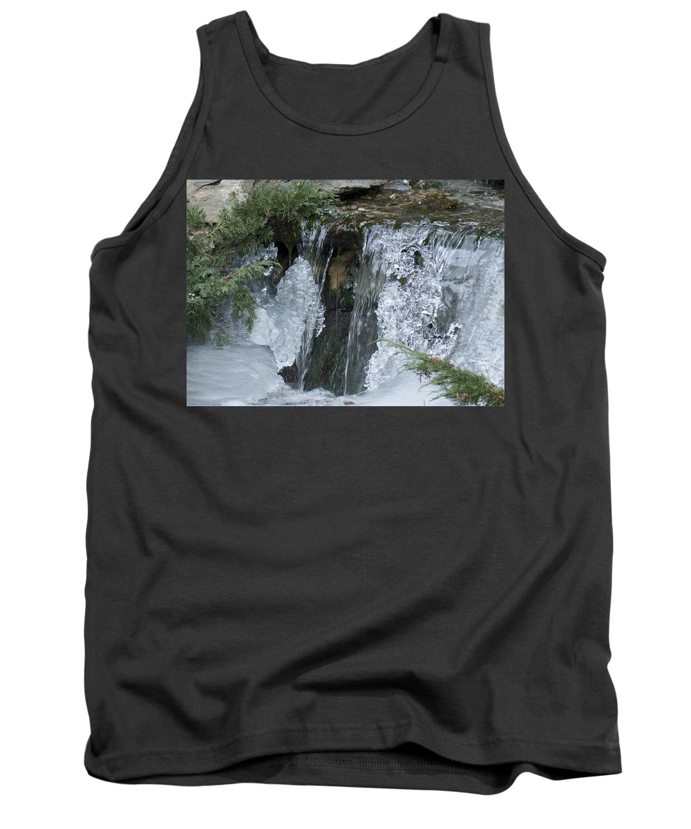 Koi Pond Tank Top featuring the photograph Koi Pond Waterfall by Steven Natanson