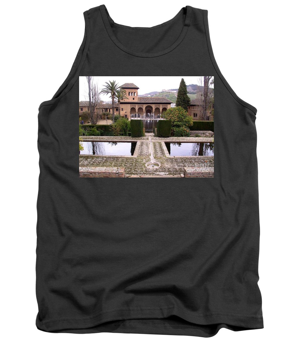 Alhambra Tank Top featuring the photograph La Alhambra Garden by Thomas Marchessault