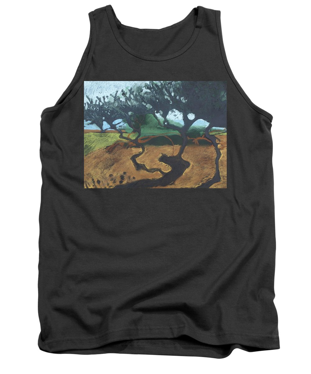 Contemporary Tree Landscape Tank Top featuring the drawing La Jolla I by Leah Tomaino
