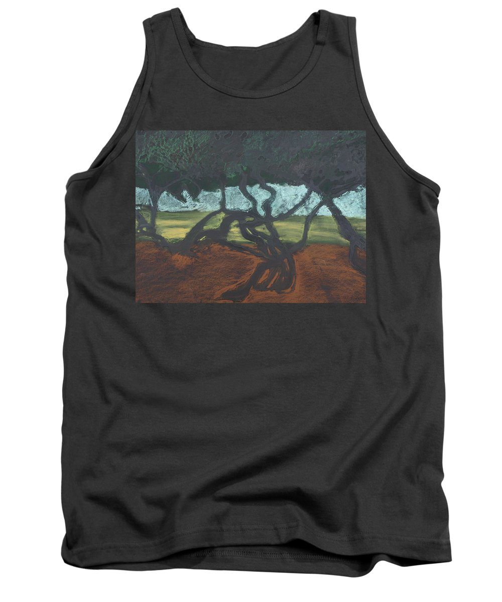 Contemporary Tree Landscape Tank Top featuring the mixed media La Jolla II by Leah Tomaino