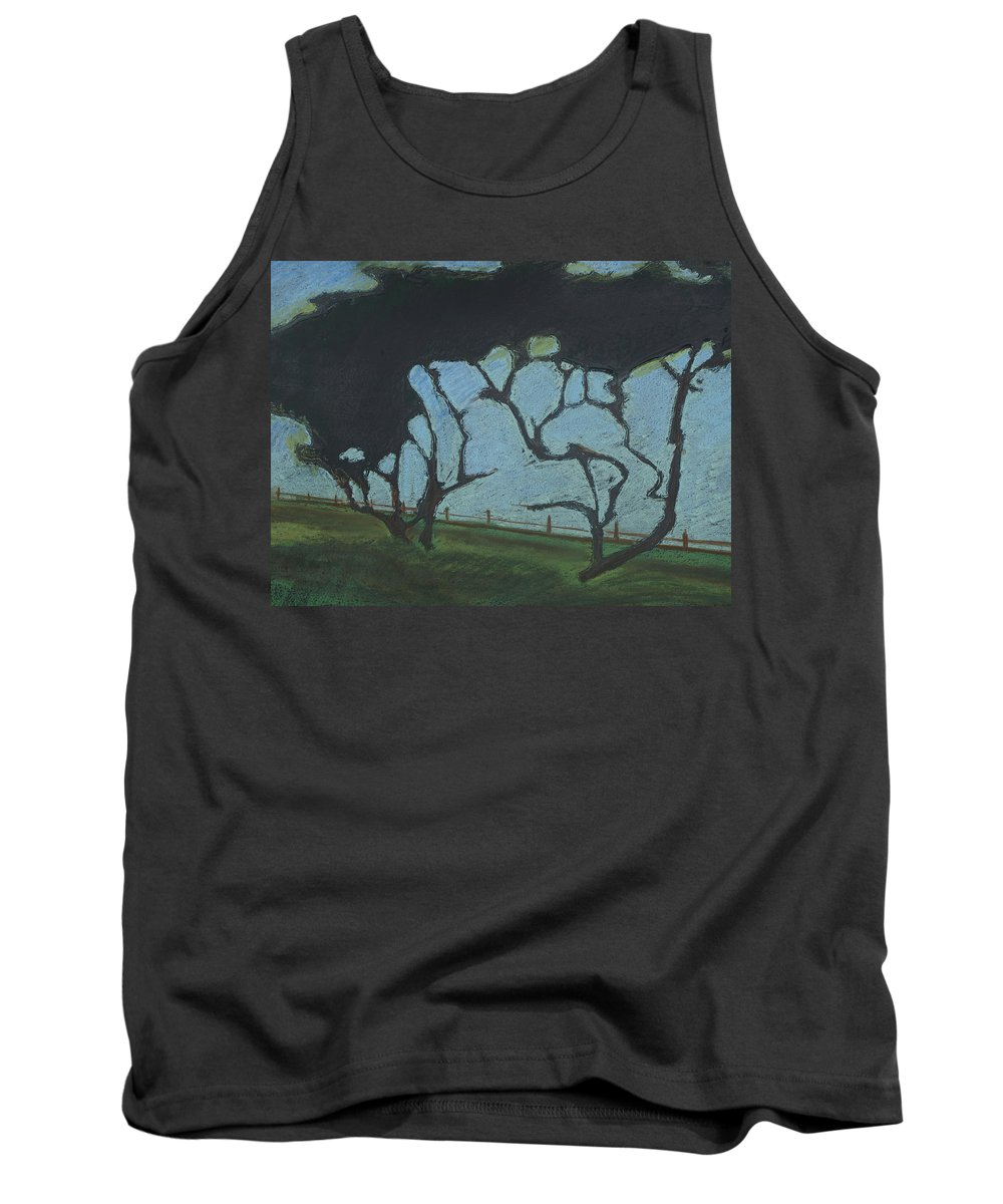 Contemporary Tree Landscape Tank Top featuring the mixed media La Jolla IIi by Leah Tomaino