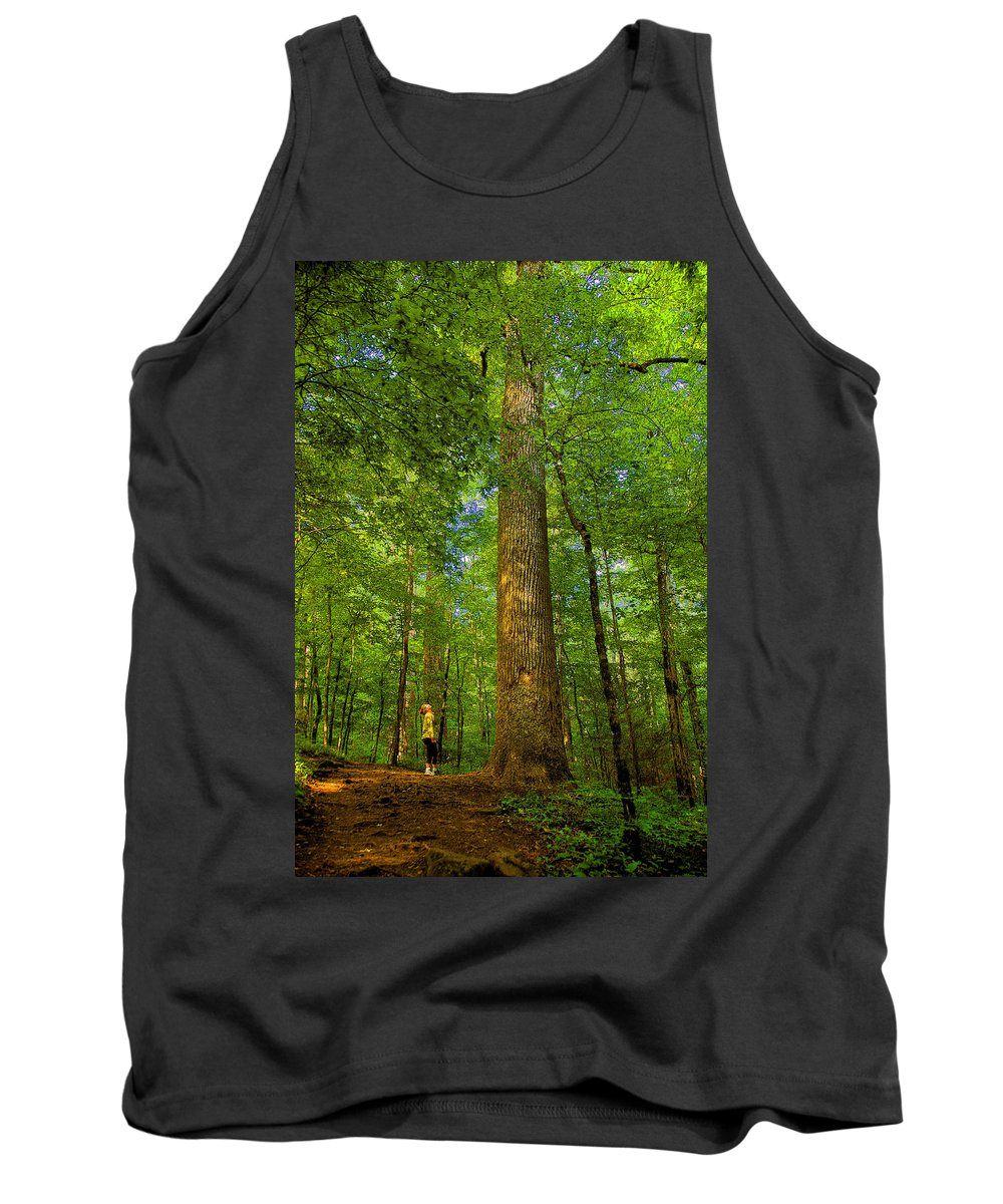 Forest Tank Top featuring the painting Lady And The Tree by David Lee Thompson