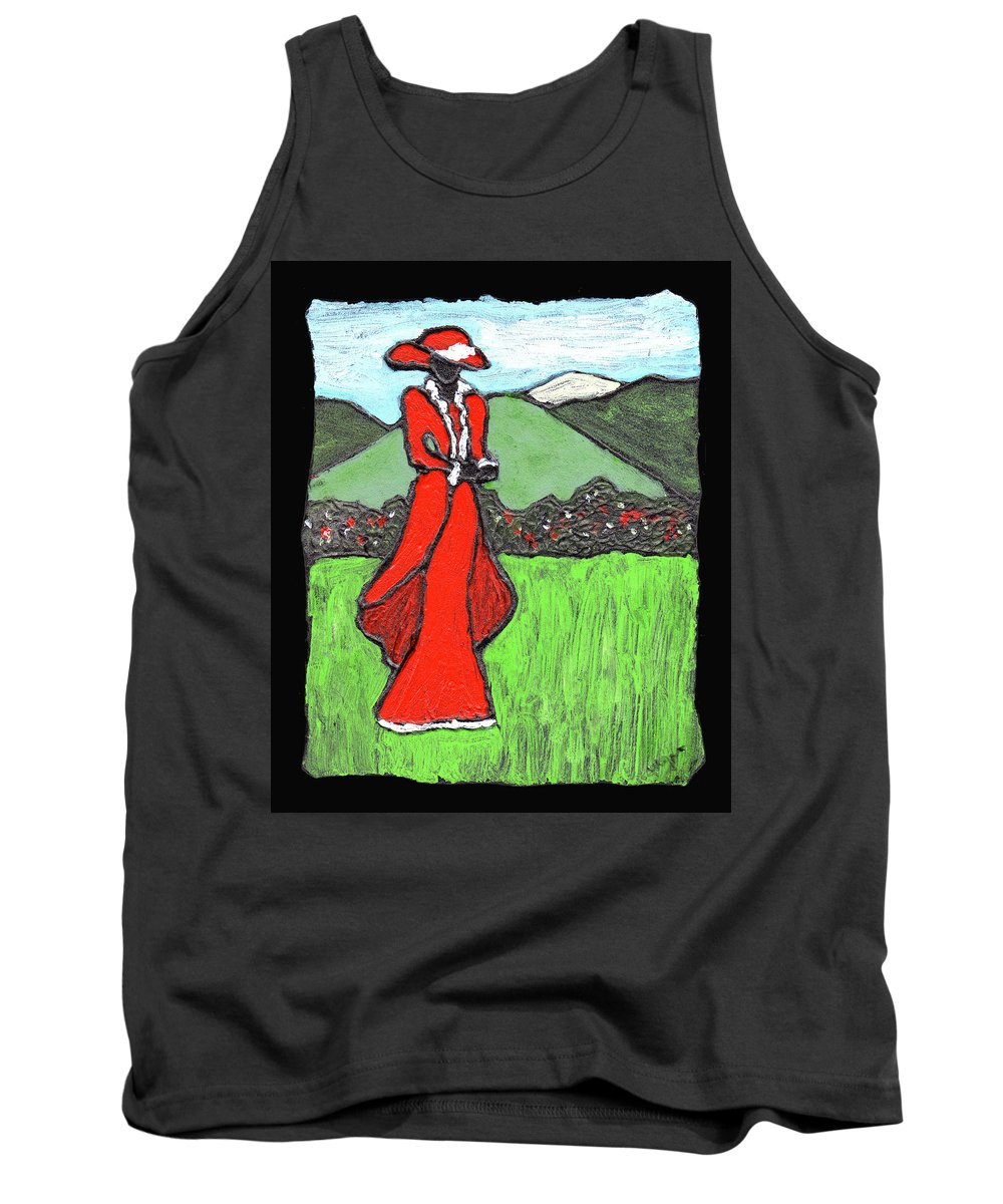 Red Tank Top featuring the painting Lady In Red by Wayne Potrafka