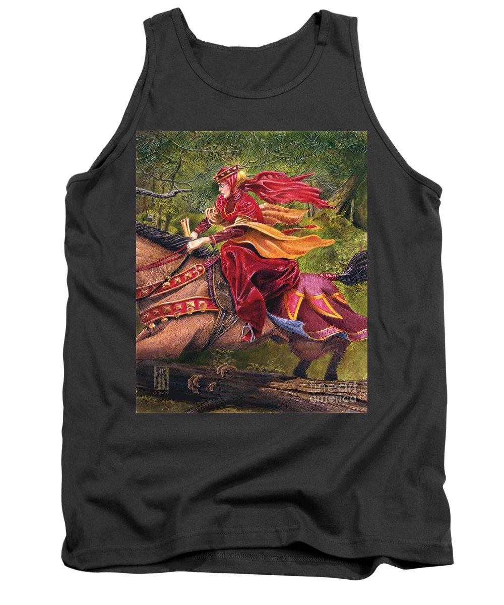 Camelot Tank Top featuring the painting Lady Lunete by Melissa A Benson