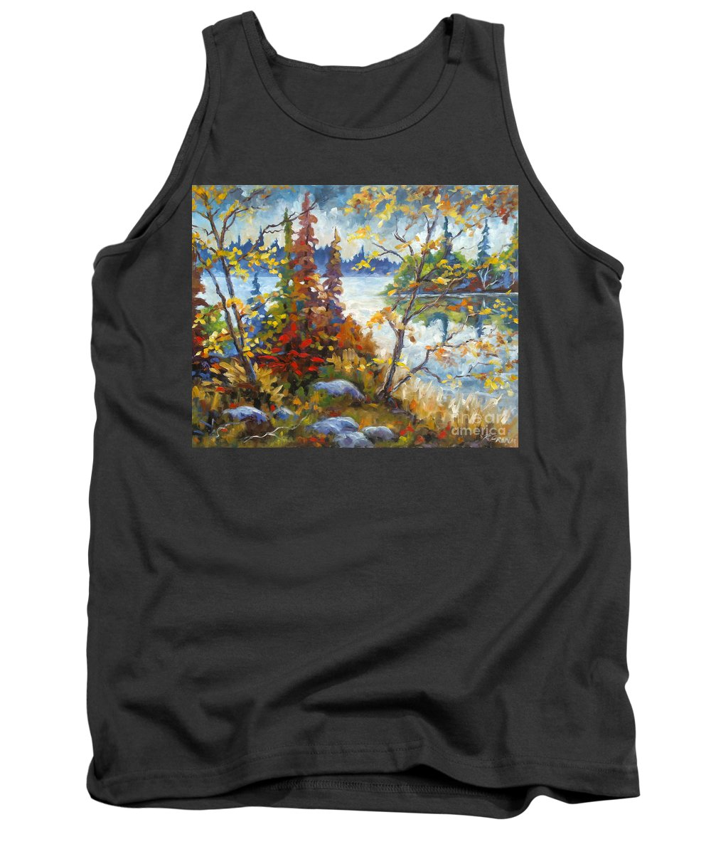Trees Tank Top featuring the painting Lake Cartier by Richard T Pranke