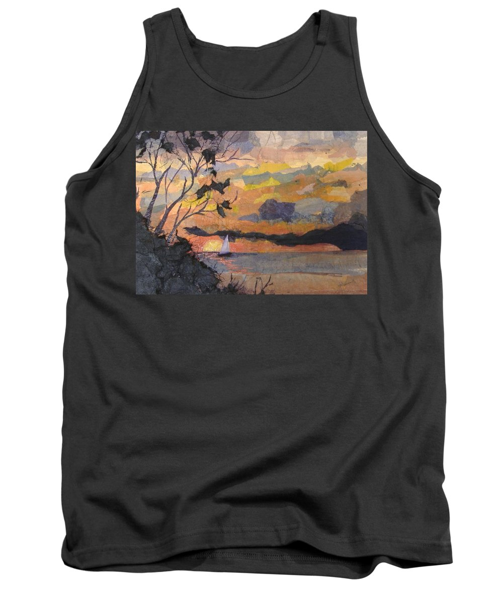 Seascape Tank Top featuring the mixed media Lake Erie Sunset by Pat Snook