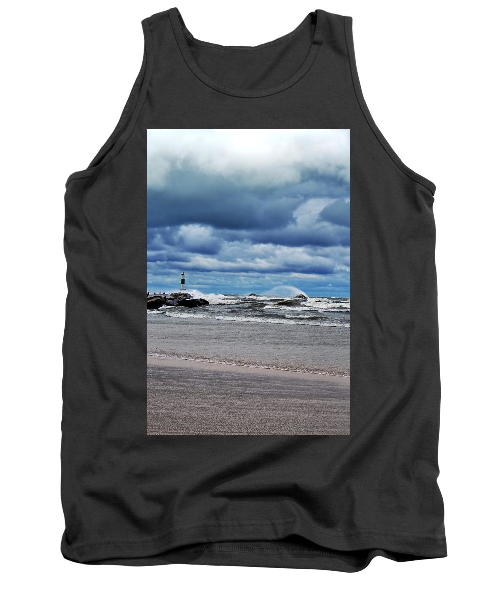 Blue Tank Top featuring the photograph Lake Michigan With Big Wind by Michelle Calkins
