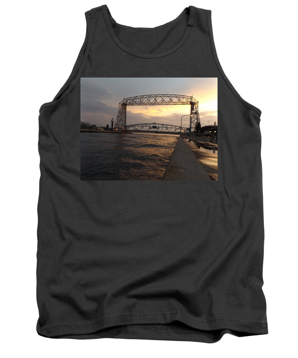 Aerial Lift Bridge Tank Top featuring the photograph Lake Therapy by Alison Gimpel