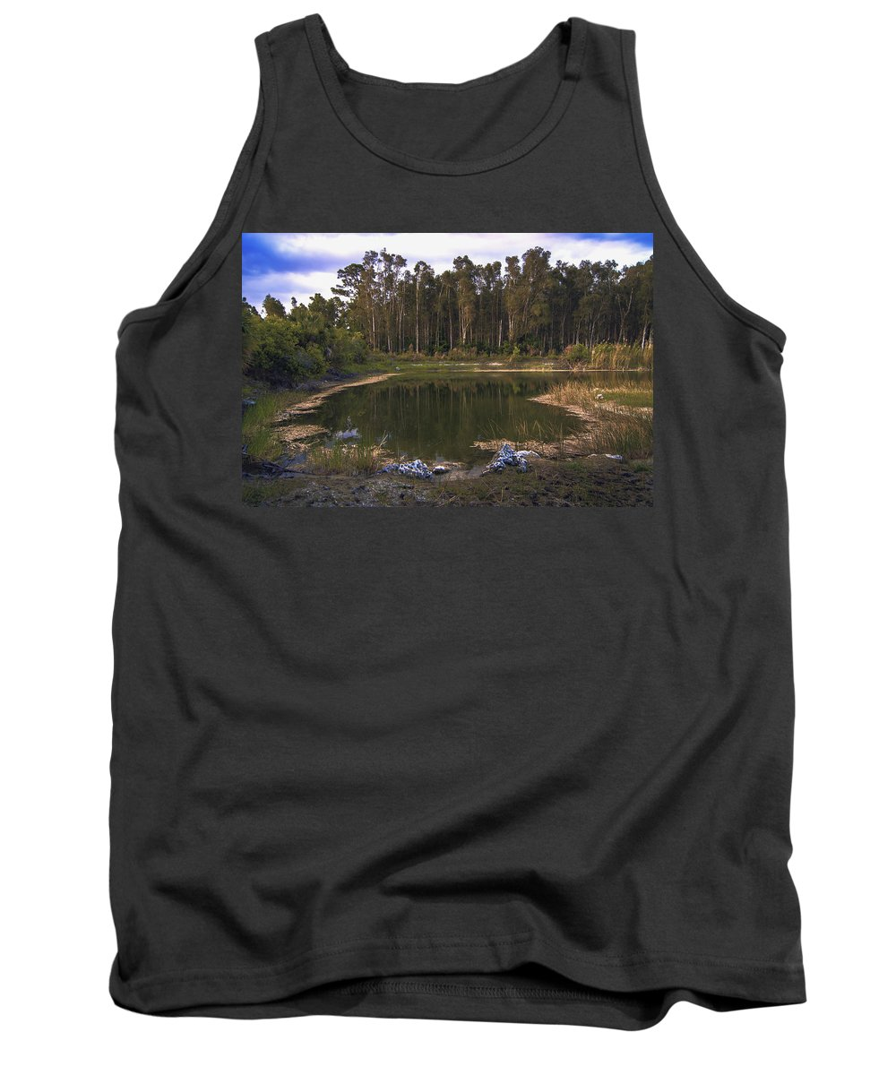 Lakeside Tank Top featuring the photograph Lakeside Reflections by Michael Frizzell