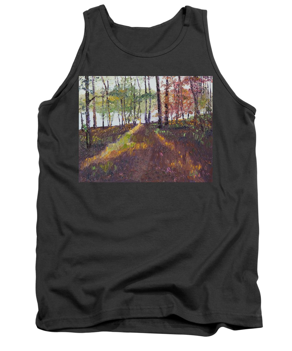 Landscape Tank Top featuring the painting Lakeside Shadows by Lea Novak